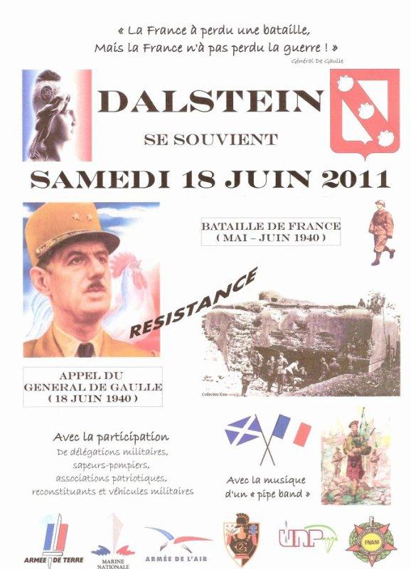 Commémoration du 18 juin à Dalstein : Bataille de France et Appel du Général De Gaulle