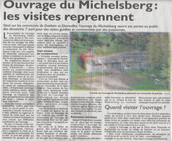 Le Michelsberg : Il est ouvert !
