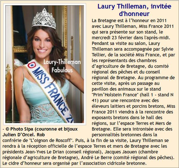 Miss France 2011 Laury  : Voici Son Programme , Pour Le Salon De L'Agriculture.