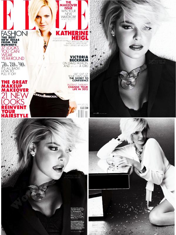 Katherine fait la couverture du magazine Elle de Janvier 2012. Sur la couverture elle porte une blouse Derek Lam, un pantalon J Brand, un collier Mawi, une ceinture en crystal Salvatore Ferragamo, une bague en diamant De Beers.