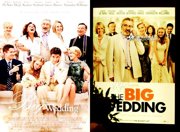 Les posters de The Big Wedding (premierent appele The Wedding), le prochain film de Katherine sont enfin sortis ! -il etait temps !-. La sortie du film est prevu pour le 26 Octobre aux Etats Unis. Quant au trailer, il devrait sorti sur Itunes un peu plus tard.