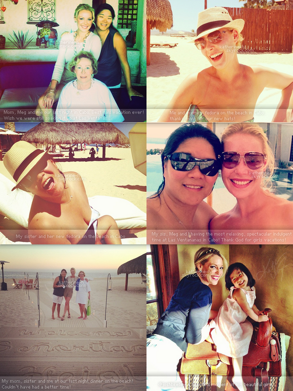 8 Avril - Katherine a bronzé sous le soleil de Los Cabos au Mexique avec sa soeur Meg. Elle porte un maillot jaune et sa jupe-paréo qu'elle ne lâche plus.