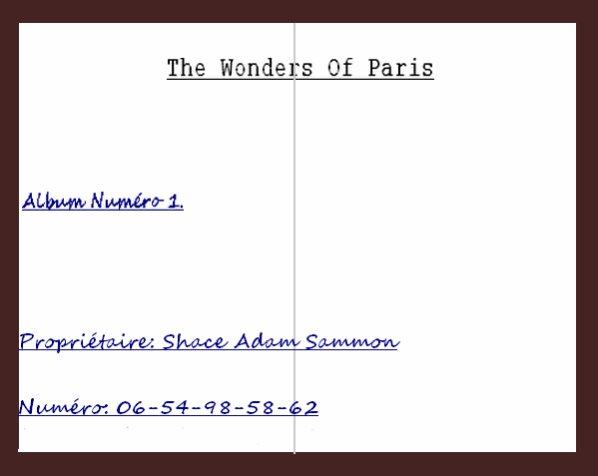 """Album """" The Wonders Of Paris """" Présentation + Page 1&2"""
