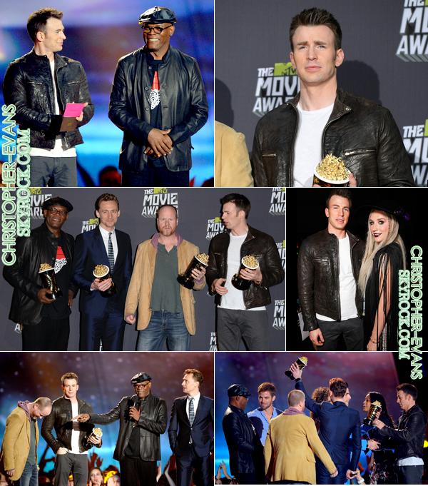 14/04/2013  ;     Chris était avec le cast de The Avengers, film qui a remporté deux récompenses : celle du  meilleur combat de l'année, et celle du film de l'année  .