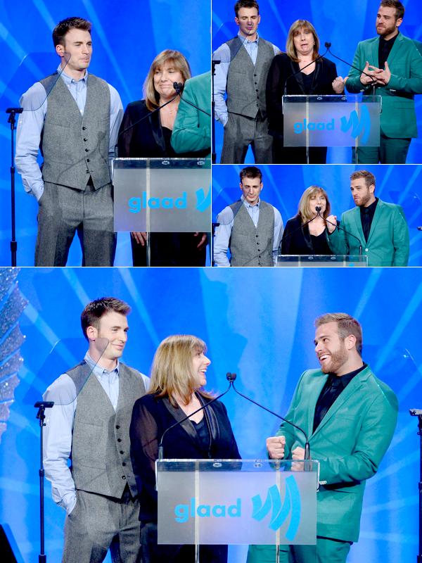 Le 20AVRIL, Chris a été vu a GLAAD Media  Awards. Il était accompagné de son petit frère Scott, aini que de sa maman Alice.