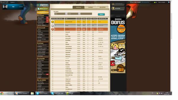 Petit screen du classement leader