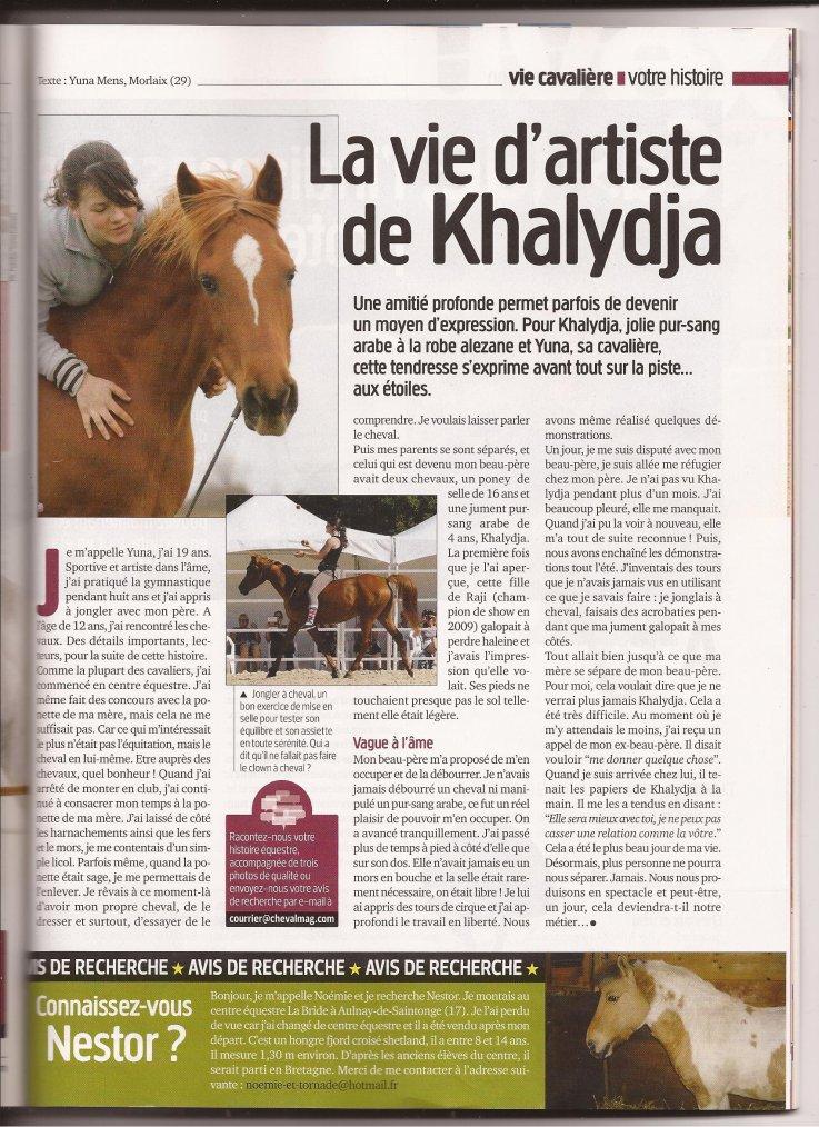 "cheval magazine : ""La vie d'artiste de Khalydja"""