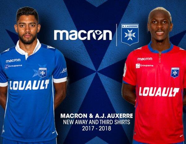 Maillots Extèrieur et Third Auxerre 2017/2018
