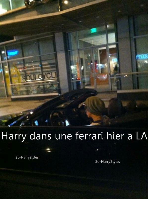 Harry a été vu hier à LA dans une ferrari,ne me demandez pas pour la personne qui est à côté de lui,je ne sais pas,mais j'essayerais de trouver.Une rumeur dit (je ne sais pas si elle est vrai) qu'Harry aurait flashé sur une Directioner durant un de leur concert a Sydney il me semble