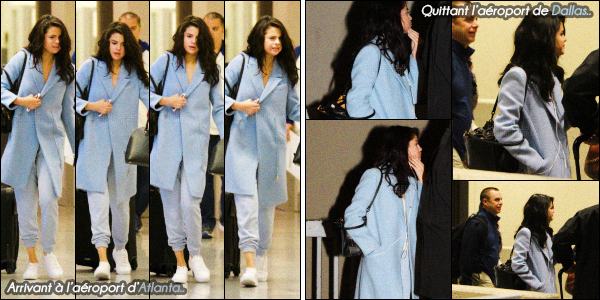 ..  02/03/2017• Sela été photographiée se rendant à l'aéroport d'Atlanta, en Géorgie pour prendre un avion. Selena G a été vue ensuite, un peu plus tard, après avoir pris son avion, à Dallas, au Texas. Côté tenue, beau top, qu'en pensez vous ? .