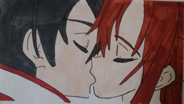 Sauna et kirito leur premier baiser