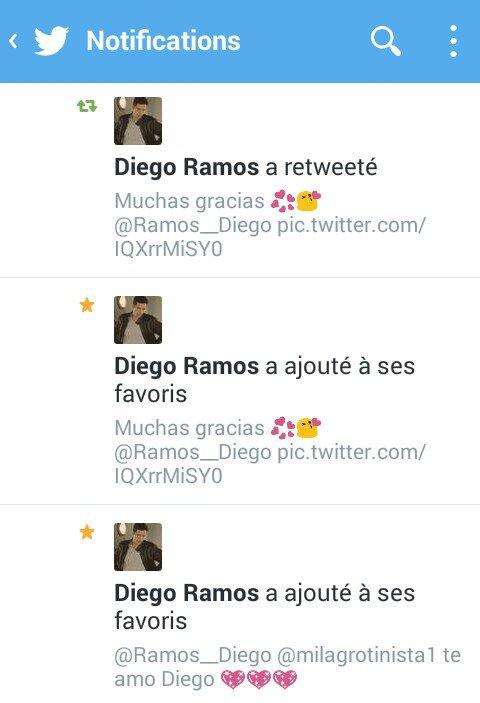 Trop contente Diego R a ajouté deux de mes tweet a ses favoris et m'a RT une fois