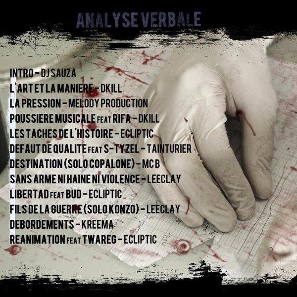 """TRACKLIST DE LA NET TAPE """"ANALYSE VERBALE"""" EN TéLéCHARGEMENT GRATUIT A PARTIR DU 20 OCTOBRE 2012."""