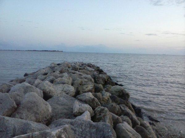 Regarder le coucher de soleil au bord de la mer