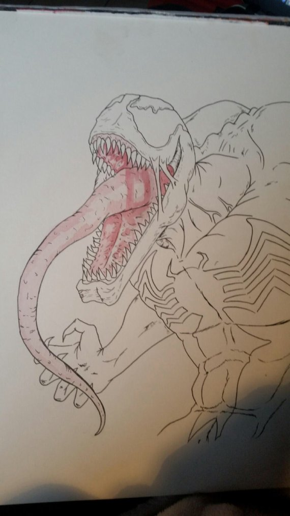 Dessin de Venom en cours