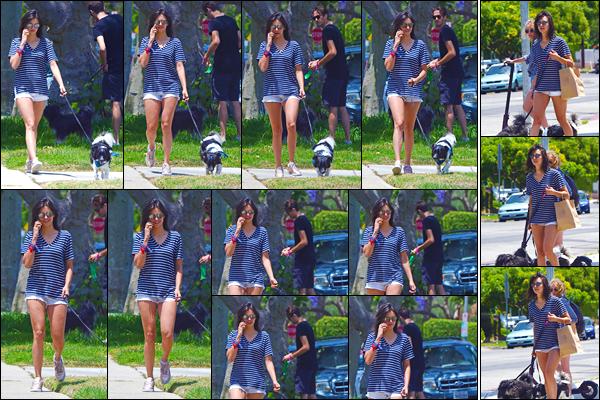 - '-01/07/18-'◘Nina Dobreva a été photographiée alors qu'elle promenait son chien dans rues de Los Angeles. C'est ainsi en compagnie de son précieux chien Maverick que nous retrouvons notre brunette dans une tenue assez classique, petit top ! -