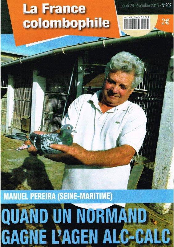 Manuel Pereira à la Une de la France Colombophile