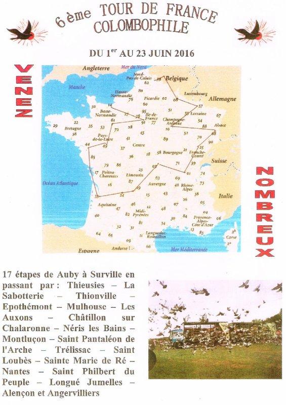 17ème Etape du Tour de France Colombophile 2016 passera à Surville