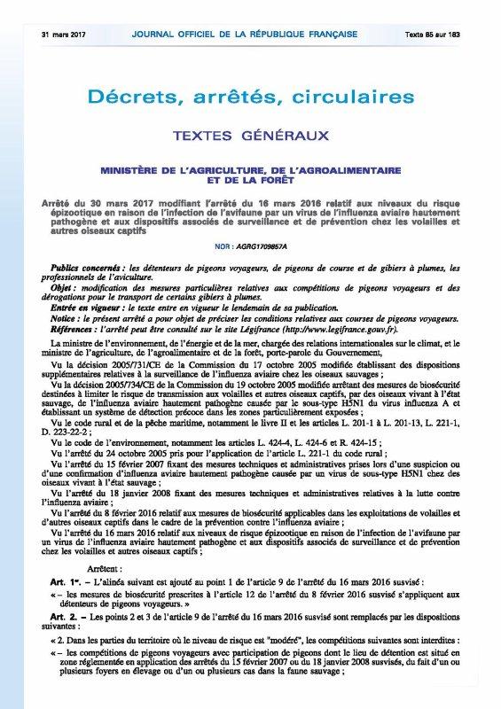 Bonne nouvelle sur le front de la grippe aviaire : le décret est paru aujourd'hui