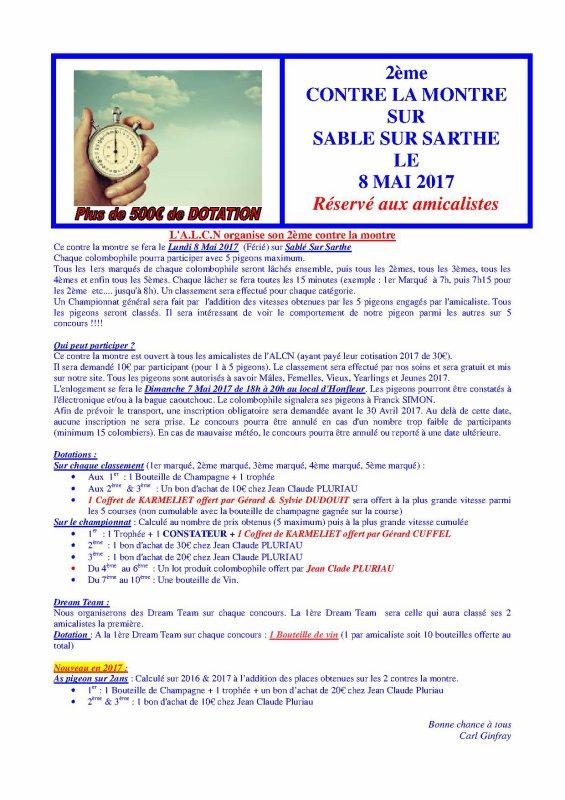 Contre la montre ALCN du 8 Mai sur Sablé sur Sarthe J-1 pour les inscriptions