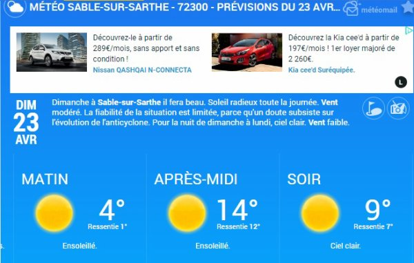 Dimanche 23 Avril : Sablé sur Sarthe lâché à 9H15 pour mon secteur