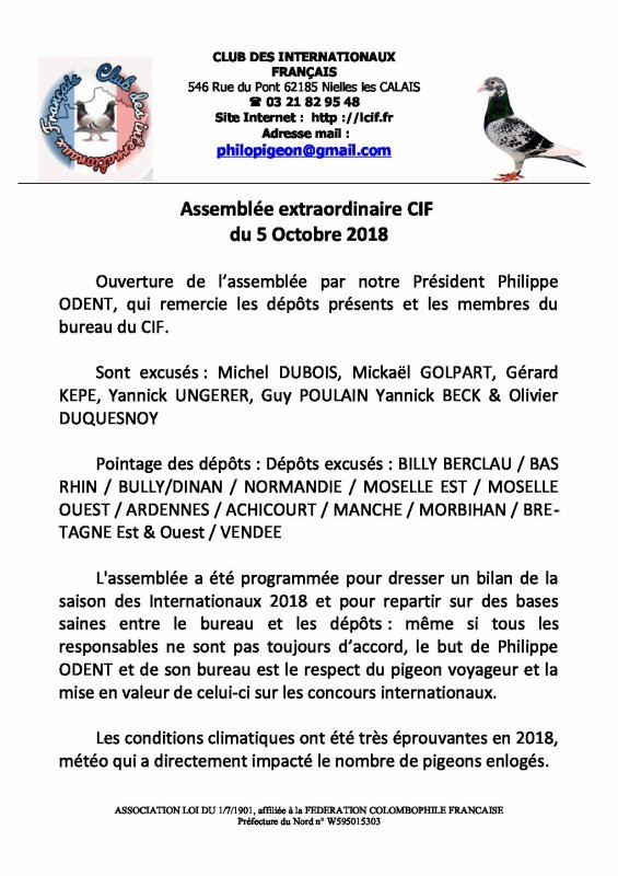 Assemblée extraordinaire CIF du 5 Octobre 2018