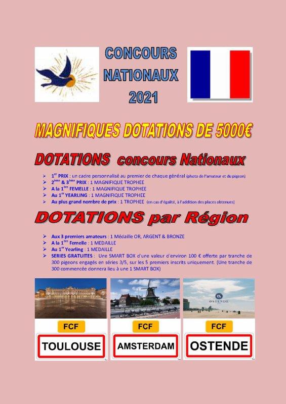 DOTATIONS de la FCF DES CONCOURS NATIONAUX 2021
