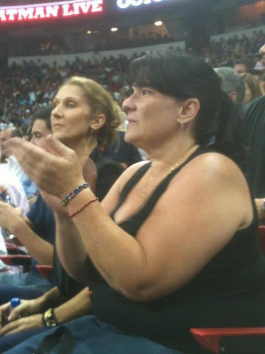 Celine Dion assistindo basquete 13/07/2012