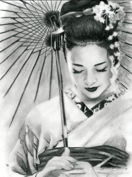 geisha en dessin.