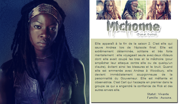 • Personnages principaux : Michonne, Carol, Tyreese, Sasha + sondage •