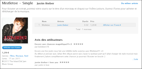 Mistletoe * Le Single Mistletoe est sortie hier (18.10.11) vous pouvez des a présent l'acheter sur Itunes . (Cliquer sur l'image) *