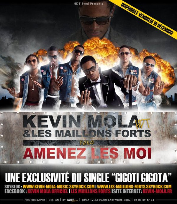 "KEVIN MOLA ET LES MAILLONS FORT/ AFFICHE OFFICIEL/ MAXI SINGLE ""GIGOTI GIGOTA"""