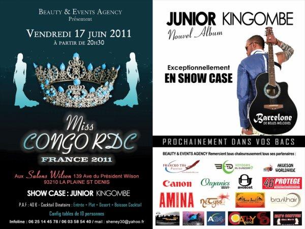 JUNIOR KINGOMBE EN SHOW CASE EXCEPTIONNEL LE 17 JUIN 2011 AUX ELECTION MISS CONGO  RDC