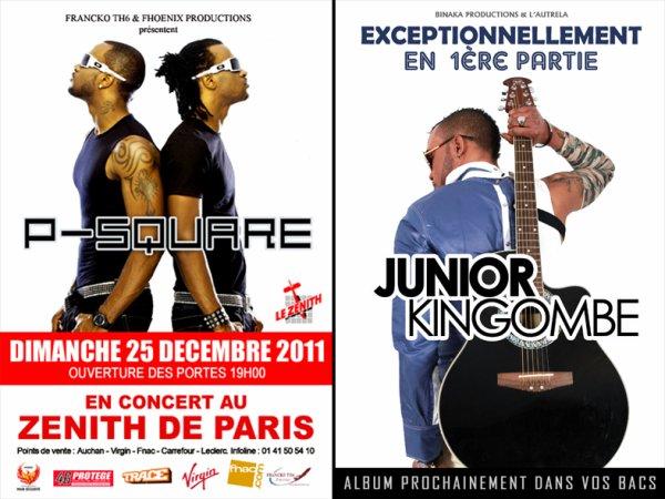 JUNIOR KINGOMBE AU ZÉNITH DE PARIS LE 25 DÉCEMBRE 2011/ EN PREMIÈRE PARTY DU CONCERT LIVE DU GROUPE DES P-SQUARE
