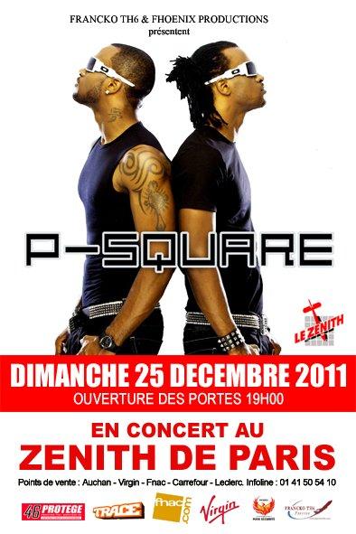 LE GROUPE P-SQUARE EN CONCERT AU ZÉNITH DE PARIS LE 25 DÉCEMBRE 2011