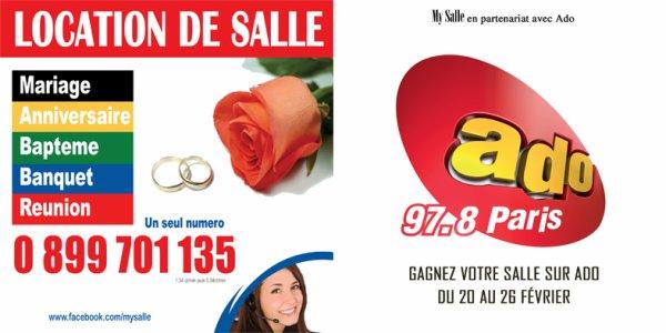 GAGNEZ VOTRE SALLE AVEC MY SALLE/ DU 20 AU 26 FÉVRIER 2012 SUR LA RADIO ADO FM 97.8