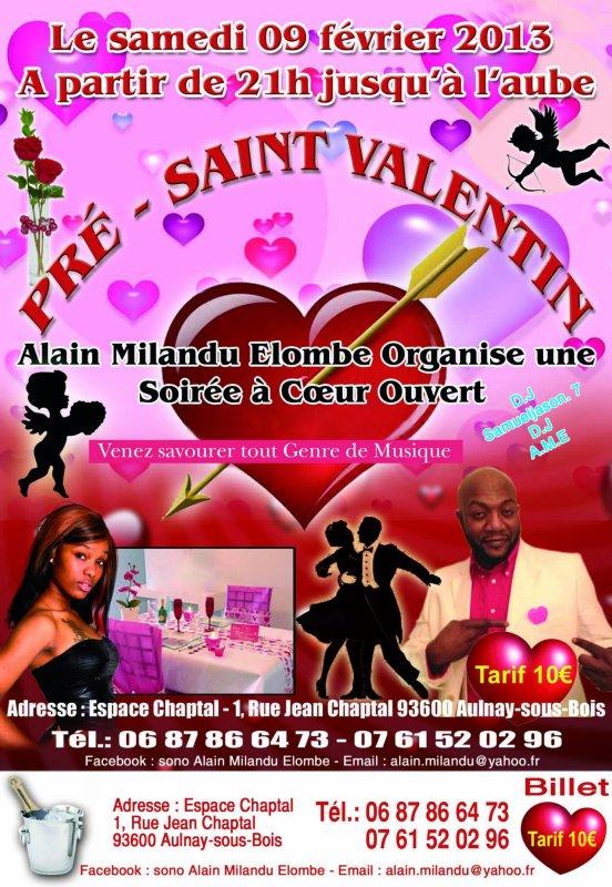 ALAIN MILANDU PRESENTE LA SOIREE PRE- SAINT VALENTIN LE 9 FEVRIER 2013 A AULNAY/BOIS (FRANCE)