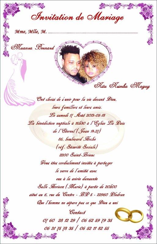 BERNARD CAVALI ET NITU NSIMBA ONT L' IMMENSE JOIE DE VOUS INVITER A LEUR MARIAGE
