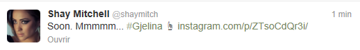 Nouveau tweet de Shay Mitchell ( Il y a 1 min )