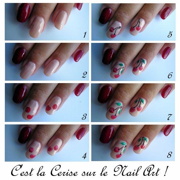 nail art cerise <3 <3