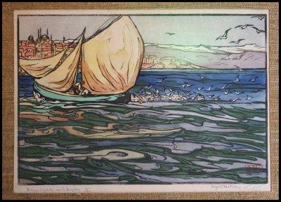 barque de pêche sur le bosphore Georges Geo Fourrier d'après Auguste Matisse