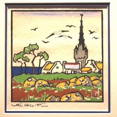 pochoir bretagne Georges Geo Fourrier  , village