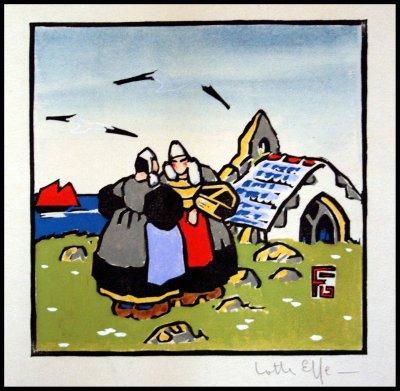 pochoir bretagne Georges Geo Fourrier . 2 bretonnes devant une chapelle
