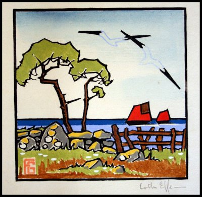 pochoir Georges Geo Fourrier . paysage marin en bretagne