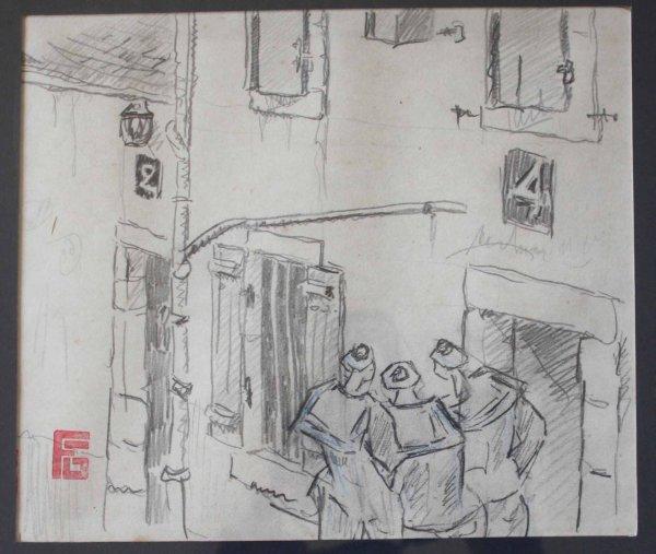 dessin marins dans les rues de Quimper , Georges Geo Fourrier