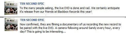 DVD live/documentaire + L'enregistrement de l'album commencera le 4 avril.
