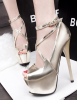 Strap patent leather Peep Toe Shoes