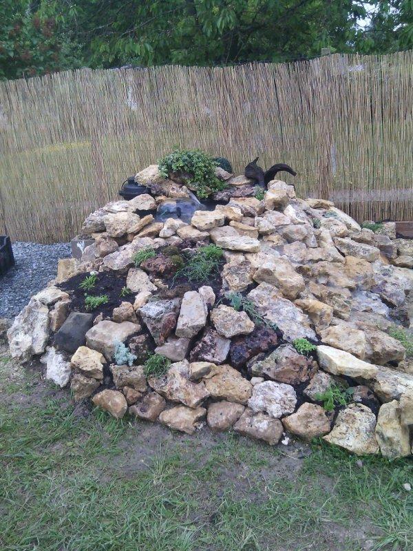 Ce matin plantation des plantes dans la rocaille