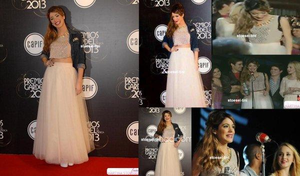 le 21 septembre 2013 - tini au Premios Gardel a la musica 2013 - C5N Vivo