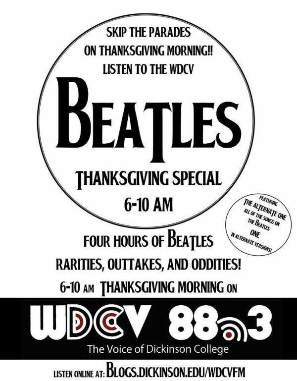Tous les Beatles ! Ecoute ! Jeudi novembre 25, 1100-1500 gmt.